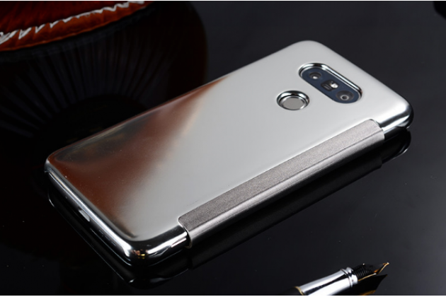 """Чехол-книжка с дизайном """"Clear View Cover"""" полупрозрачный с зеркальной поверхностью для LG G5 SE H845 / H860N / H850 5.3"""" серебристый"""