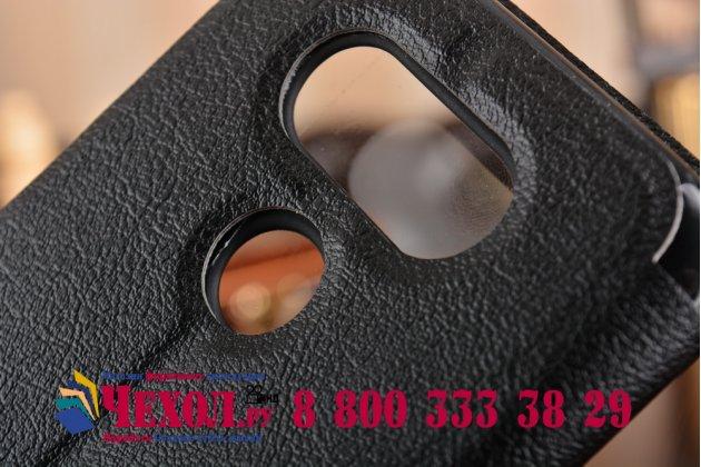 """Фирменный оригинальный чехол-книжка для LG G5 SE H845 / H860N / H850 5.3"""" черный с окошком для входящих вызовов водоотталкивающий"""