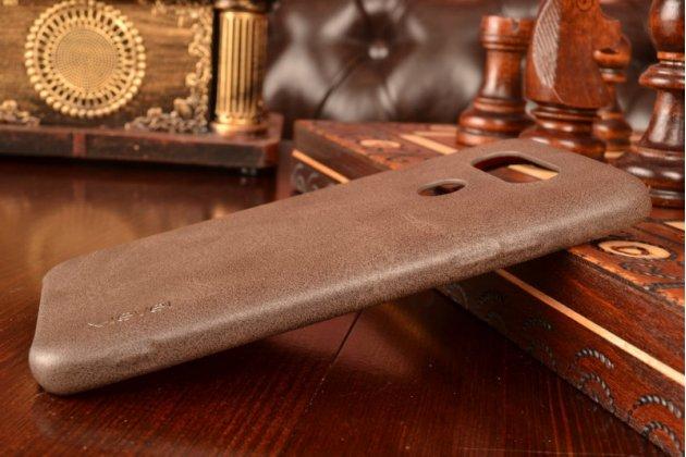"""Фирменная премиальная элитная крышка-накладка из тончайшего прочного пластика и качественной импортной кожи  для LG G5 SE H845 / H860N / H850 5.3""""  """"Ретро под старину"""" коричневая"""