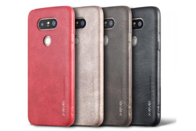 """Фирменная премиальная элитная крышка-накладка из тончайшего прочного пластика и качественной импортной кожи  для LG G5 SE H845 / H860N / H850 5.3""""  """"Ретро под старину"""" красная"""