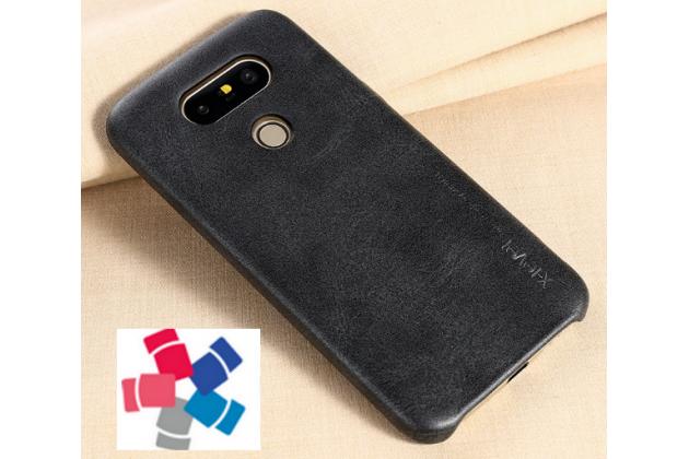 """Фирменная премиальная элитная крышка-накладка из тончайшего прочного пластика и качественной импортной кожи  для LG G5 SE H845 / H860N / H850 5.3""""  """"Ретро под старину"""" черная"""