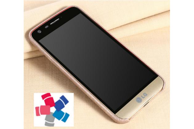 """Фирменная премиальная элитная крышка-накладка из тончайшего прочного пластика и качественной импортной кожи  для LG G5 SE H845 / H860N / H850 5.3""""  """"Ретро под старину"""" серая"""