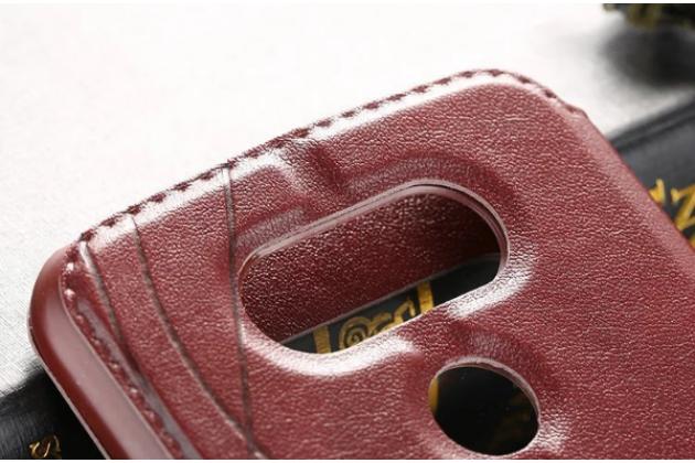 """Фирменный оригинальный чехол-книжка для LG G5 SE H845 / H860N / H850 5.3"""" коричневый  кожаный с окошком для входящих вызовов"""