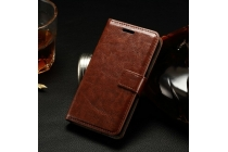 Фирменный чехол-книжка из качественной импортной кожи с мульти-подставкой застёжкой и визитницей для Лджи Джой Н220 коричневый