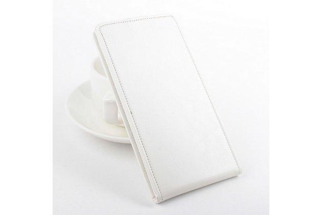 """Фирменный оригинальный вертикальный откидной чехол-флип для LG Joy H220N белый кожаный """"Prestige"""" Италия"""