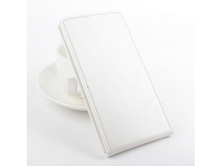 Фирменный оригинальный вертикальный откидной чехол-флип для LG Joy H220N белый кожаный