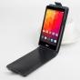 Фирменный оригинальный вертикальный откидной чехол-флип для LG Joy H220N черный из натуральной кожи