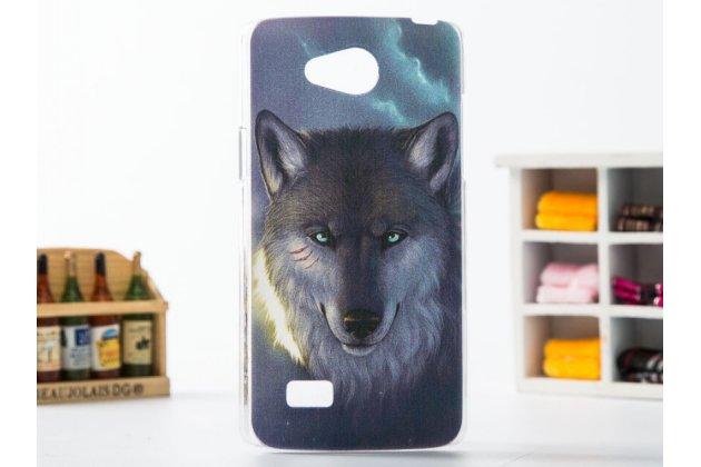 """Фирменная необычная из легчайшего и тончайшего пластика задняя панель-чехол-накладка для LG Joy H220N """"тематика дикий Волк"""""""