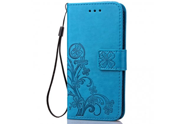 """Фирменный чехол-книжка из качественной импортной кожи с подставкой застёжкой и визитницей для LG K10 / M2 (K410 / K420N / K430N / K430 Dual Sim LTE) 5.3""""  бирюзовый с рисунком цветов"""