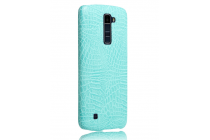 """Фирменная роскошная элитная премиальная задняя панель-крышка для LG K10 / M2 (K410 / K420N / K430N / K430 Dual Sim LTE) 5.3""""  из лаковой кожи крокодила бирюзовая"""