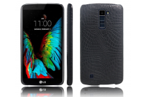 """Фирменная роскошная элитная премиальная задняя панель-крышка для LG K10 / M2 (K410 / K420N / K430N / K430 Dual Sim LTE) 5.3""""  из лаковой кожи крокодила черная"""