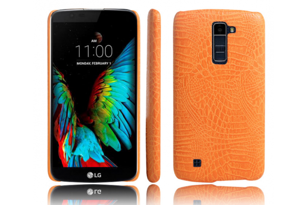 """Фирменная роскошная элитная премиальная задняя панель-крышка для LG K10 / M2 (K410 / K420N / K430N / K430 Dual Sim LTE) 5.3""""  из лаковой кожи крокодила оранжевая"""