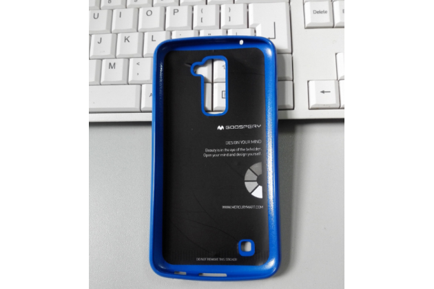 """Фирменная ультра-тонкая полимерная из мягкого качественного силикона задняя панель-чехол-накладка для LG K10 / M2 (K410 / K420N / K430N / K430 Dual Sim LTE) 5.3""""  синяя"""