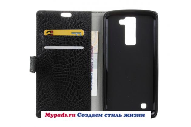 "Фирменный чехол-книжка с подставкой для LG K10 / M2 (K410 / K420N / K430N / K430 Dual Sim LTE) 5.3"" лаковая кожа крокодила черный"