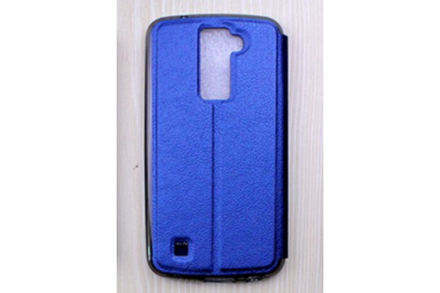 """Фирменный оригинальный чехол-книжка для LG K10 / M2 (K410 / K420N / K430N / K430 Dual Sim LTE) 5.3""""  голубой с окошком для входящих вызовов водоотталкивающий"""