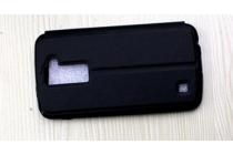 """Фирменный оригинальный чехол-книжка для LG K10 / M2 (K410 / K420N / K430N / K430 Dual Sim LTE) 5.3""""  черный с окошком по центру для сторонней версии прошивки водоотталкивающий"""