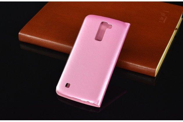 """Фирменный оригинальный чехол-книжка для LG K10 / M2 (K410 / K420N / K430N / K430 Dual Sim LTE) 5.3""""  розовый с окошком для входящих вызовов водоотталкивающий"""