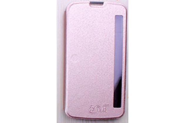 """Фирменный оригинальный чехол-книжка для LG K10 / M2 (K410 / K420N / K430N / K430 Dual Sim LTE) 5.3""""  золотой с окошком для входящих вызовов водоотталкивающий"""