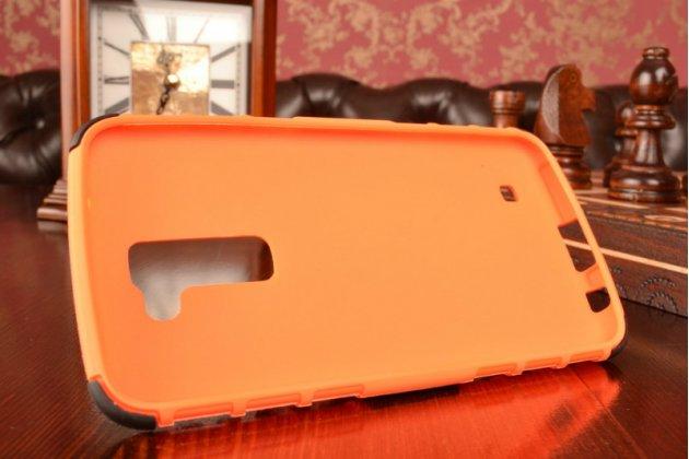 """Противоударный усиленный ударопрочный фирменный чехол-бампер-пенал для  LG K10/ К10 LTE K410 / M2 5.5"""" оранжевый"""