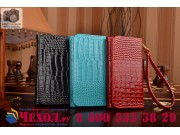 Фирменный роскошный эксклюзивный чехол-клатч/портмоне/сумочка/кошелек из лаковой кожи крокодила для телефона L..