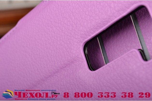 """Фирменный чехол-книжка из качественной импортной кожи с подставкой застёжкой и визитницей для Элджи Ка10 / LG K10/ К10 LTE K410 / M2 5.3"""" фиолетовый"""