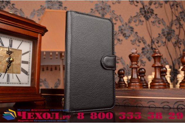 """Фирменный чехол-книжка из качественной импортной кожи с подставкой застёжкой и визитницей для Элджи Ка10 / LG K10/ К10 LTE K410 / M2 5.5""""  черный"""