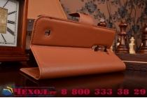 """Фирменный чехол-книжка из качественной импортной кожи с подставкой застёжкой и визитницей для Элджи Ка10 / LG K10/ К10 LTE K410 / M2 5.5""""  коричневый"""