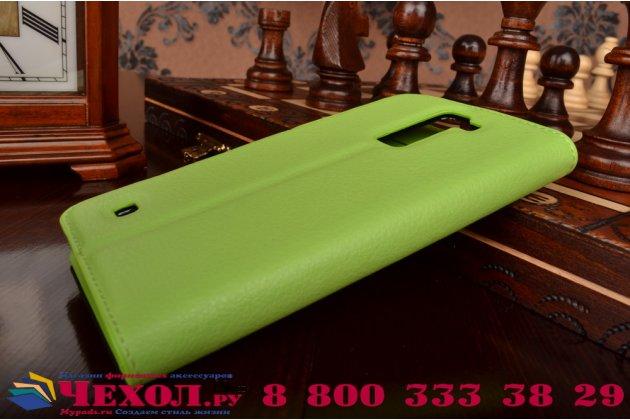 """Фирменный чехол-книжка из качественной импортной кожи с подставкой застёжкой и визитницей для Элджи Ка10 / LG K10/ К10 LTE K410 / M2 5.3"""" зеленый"""