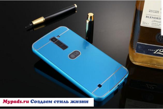 """Фирменная металлическая задняя панель-крышка-накладка из тончайшего облегченного авиационного алюминия для LG K10 / M2 (K410 / K420N / K430N / K430 Dual Sim LTE) 5.3"""" синяя"""