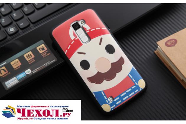"""Фирменная уникальная задняя панель-крышка-накладка из тончайшего силикона для LG K10 / M2 (K410 / K420N / K430N / K430 Dual Sim LTE) 5.3""""  с объёмным 3D рисунком """"тематика Марио"""""""