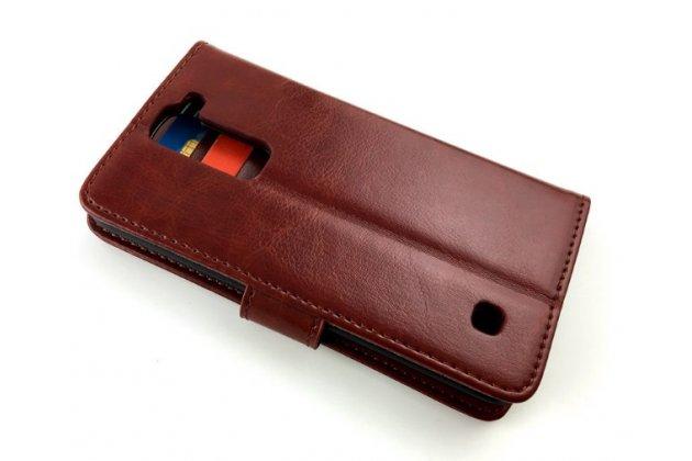 """Фирменный чехол-книжка из качественной импортной кожи с мульти-подставкой застёжкой и визитницей для LG K3 LTE K100DS / LG LS450 4.5"""" коричневый"""