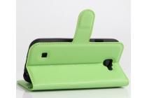 """Фирменный чехол-книжка из качественной импортной кожи с мульти-подставкой застёжкой и визитницей для LG K3 LTE K100DS / LG LS450 4.5"""" зеленый"""