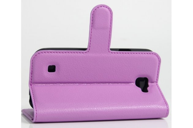 """Фирменный чехол-книжка из качественной импортной кожи с мульти-подставкой застёжкой и визитницей для LG K3 LTE K100DS / LG LS450 4.5"""" фиолетовый"""