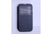"""Фирменный оригинальный чехол-книжка для LG K3 LTE K100DS / LG LS450 4.5"""" черный кожаный с окошком для входящих вызовов"""