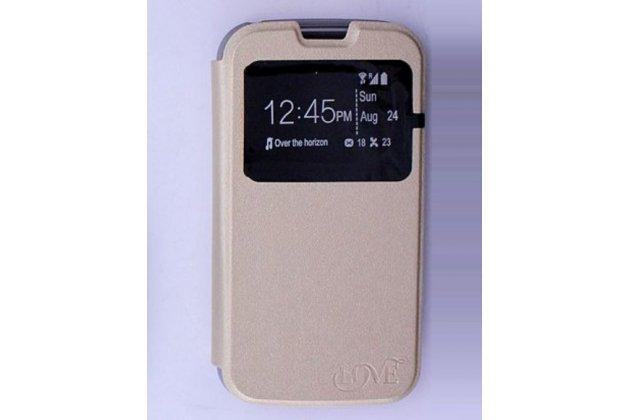 """Фирменный оригинальный чехол-книжка для LG K3 LTE K100DS / LG LS450 4.5"""" золотой кожаный с окошком для входящих вызовов"""