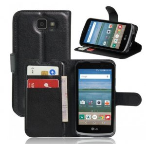 """Фирменный чехол-книжка для LG K4 K120E / K130E / Zone 3 (vs425) 4.5"""" с визитницей и мультиподставкой черный кожаный"""