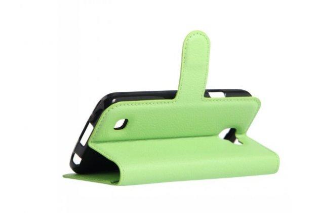 """Фирменный чехол-книжка для LG K4 K120E / K130E / Zone 3 (vs425) 4.5"""" с визитницей и мультиподставкой зелёный кожаный"""
