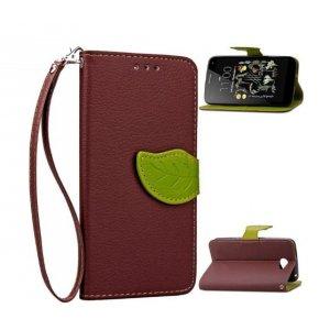 """Фирменный чехол-книжка для LG K5 / Q6 (X220ds) 5.0"""" с визитницей мультиподставкой и декорированной застежкой коричневый кожаный"""