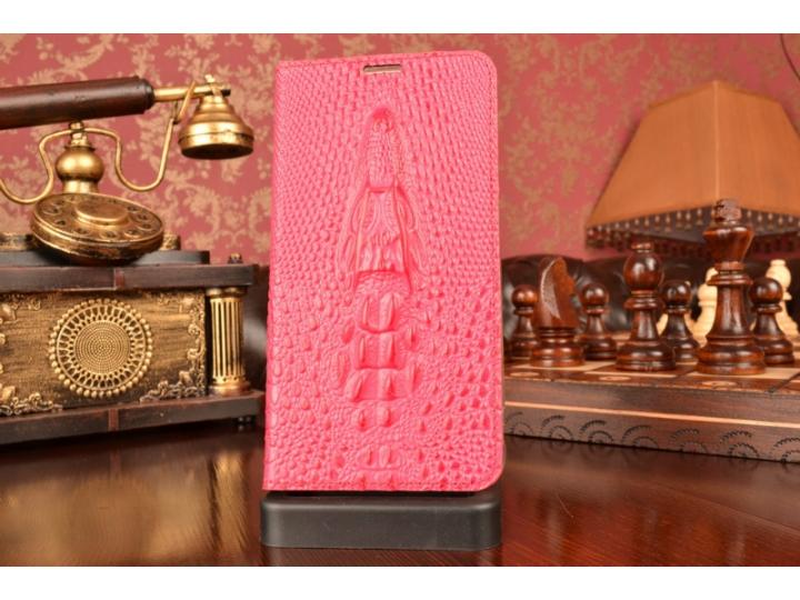 Фирменный роскошный эксклюзивный чехол с фактурной прошивкой рельефа кожи крокодила и визитницей розовый для  ..