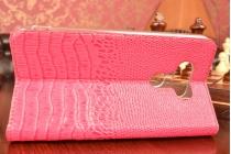 """Фирменный роскошный эксклюзивный чехол с фактурной прошивкой рельефа кожи крокодила и визитницей розовый для  LG G5 SE H845 / H860N / H850 5.3"""". Только в нашем магазине. Количество ограничено"""