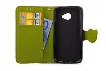 """Фирменный чехол-книжка для LG K5 / Q6 (X220ds) 5.0"""" с визитницей мультиподставкой и декорированной застежкой зелёный кожаный"""