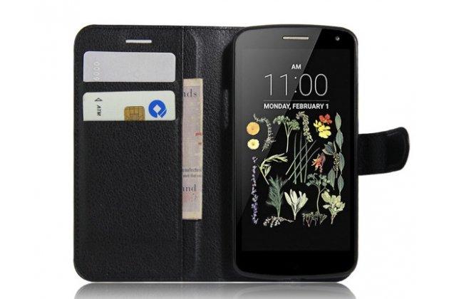 """Фирменный чехол-книжка для LG K5 / Q6 (X220ds) 5.0"""" с визитницей и мультиподставкой черный кожаный"""