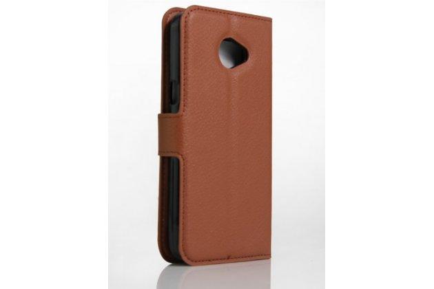 """Фирменный чехол-книжка для LG K5 / Q6 (X220ds) 5.0"""" с визитницей и мультиподставкой коричневый кожаный"""