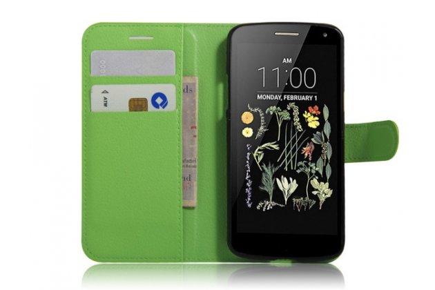 """Фирменный чехол-книжка для LG K5 / Q6 (X220ds) 5.0"""" с визитницей и мультиподставкой зелёный кожаный"""
