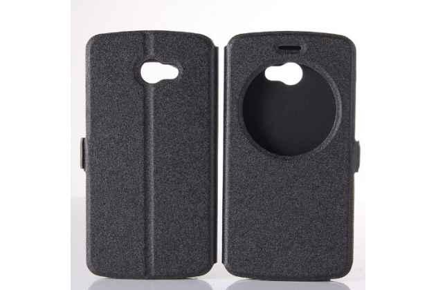 """Фирменный оригинальный чехол-книжка для LG K5 / Q6 (X220ds) 5.0"""" черный с окошком для входящих вызовов водоотталкивающий"""