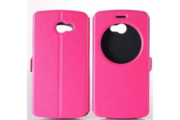 """Фирменный оригинальный чехол-книжка для LG K5 / Q6 (X220ds) 5.0"""" розовый с окошком для входящих вызовов водоотталкивающий"""
