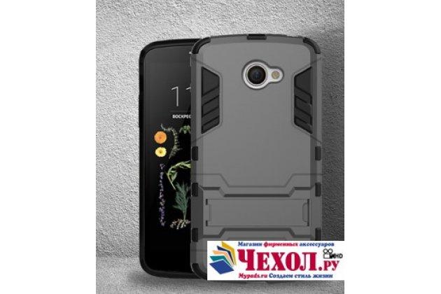 """Противоударный усиленный ударопрочный фирменный чехол-бампер-пенал для LG K5 / Q6 (X220ds) 5.0"""" серый"""