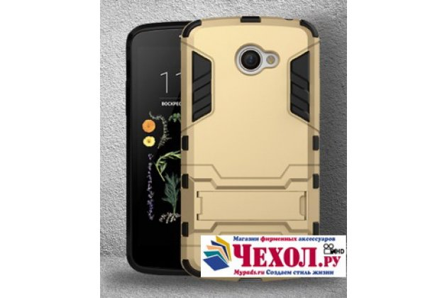 """Противоударный усиленный ударопрочный фирменный чехол-бампер-пенал для LG K5 / Q6 (X220ds) 5.0"""" золотой"""