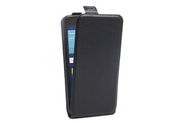 Фирменный вертикальный откидной ультра-тонкий чехол-флип для LG Tribute 5 / LG K7/ M1 (X210DS) Dual Sim 5.0 черный