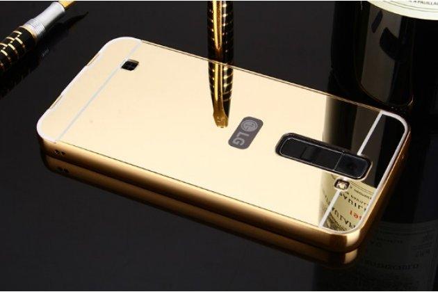 Фирменная металлическая задняя панель-крышка-накладка из тончайшего облегченного авиационного алюминия для LG Tribute 5 / LG K7/ M1 (X210DS) Dual Sim 5.0 золотая